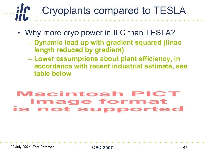 Cryoplants compared to TESLA • Why more cryo power in ILC than TESLA? –