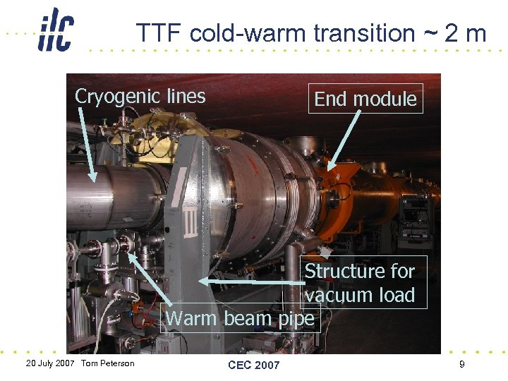 TTF cold-warm transition ~ 2 m Cryogenic lines End module Structure for vacuum load