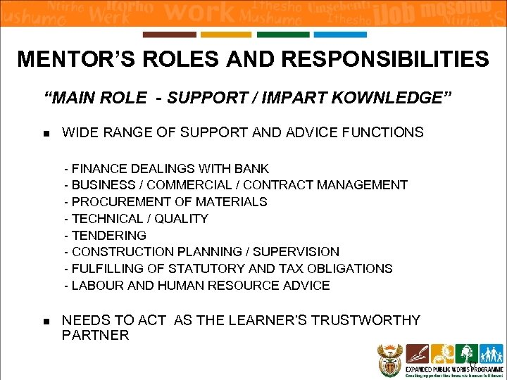 """MENTOR'S ROLES AND RESPONSIBILITIES """"MAIN ROLE - SUPPORT / IMPART KOWNLEDGE"""" n WIDE RANGE"""