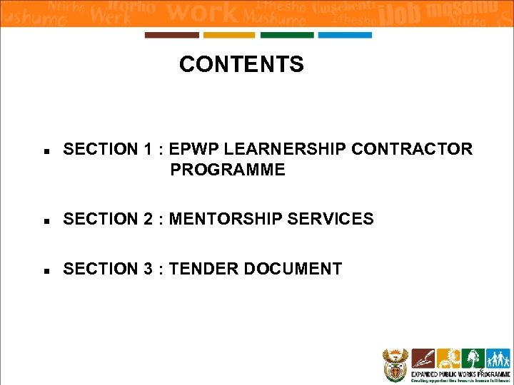 CONTENTS n SECTION 1 : EPWP LEARNERSHIP CONTRACTOR PROGRAMME n SECTION 2 : MENTORSHIP