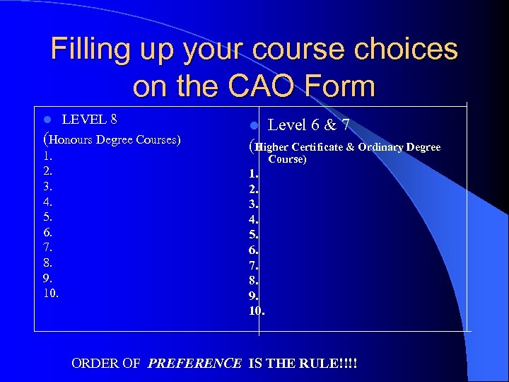 Filling up your course choices on the CAO Form l LEVEL 8 (Honours Degree
