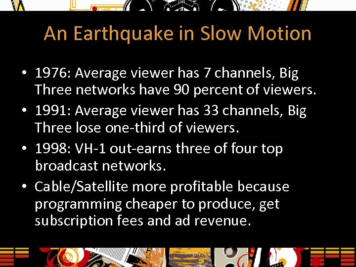 An Earthquake in Slow Motion • 1976: Average viewer has 7 channels, Big Three