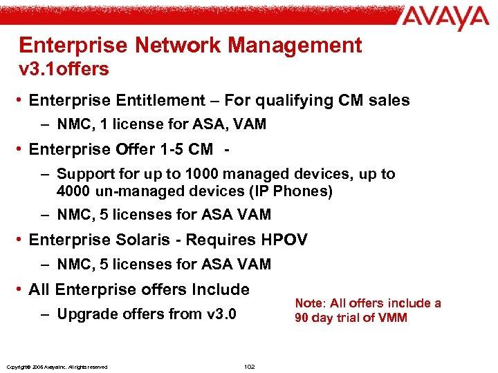 Enterprise Network Management v 3. 1 offers • Enterprise Entitlement – For qualifying CM