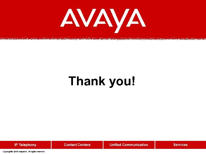 Thank you! Copyright© 2005 Avaya Inc. All rights reserved