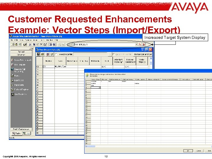 Customer Requested Enhancements Example: Vector Steps (Import/Export) Increased Target System Display Copyright© 2005 Avaya