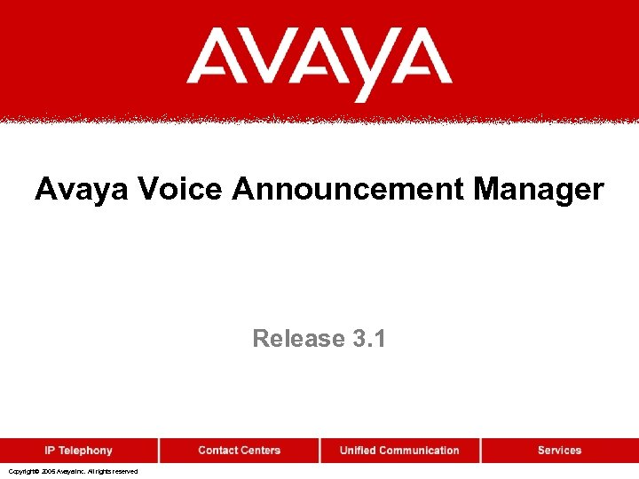 Avaya Voice Announcement Manager Release 3. 1 Copyright© 2005 Avaya Inc. All rights reserved