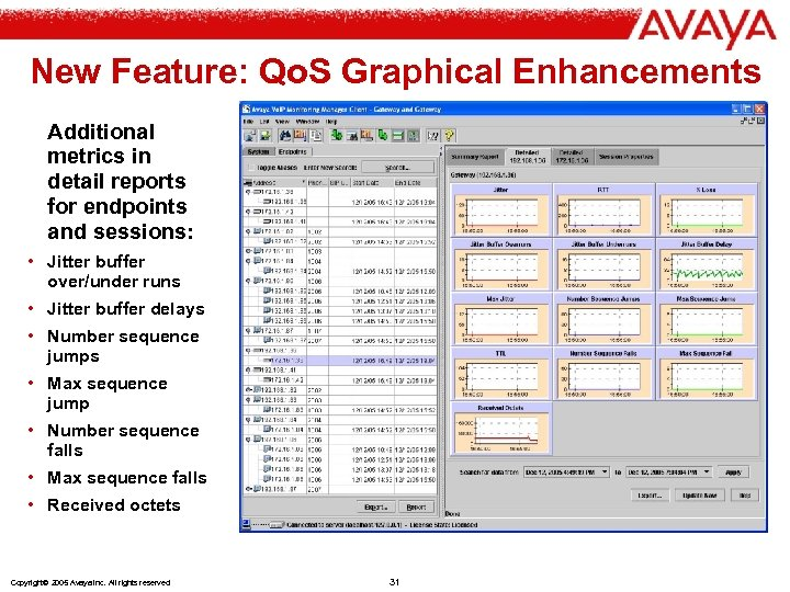 New Feature: Qo. S Graphical Enhancements Additional metrics in detail reports for endpoints and