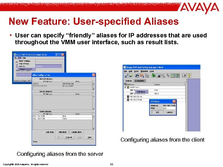 """New Feature: User-specified Aliases • User can specify """"friendly"""" aliases for IP addresses that"""