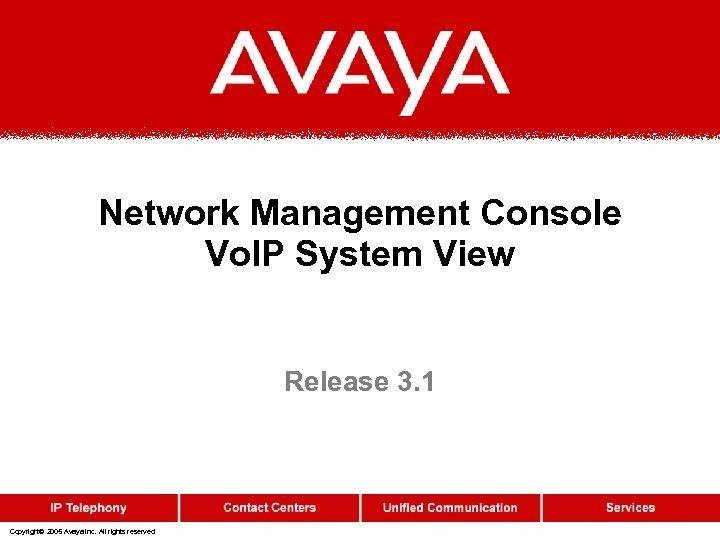 Network Management Console Vo. IP System View Release 3. 1 Copyright© 2005 Avaya Inc.