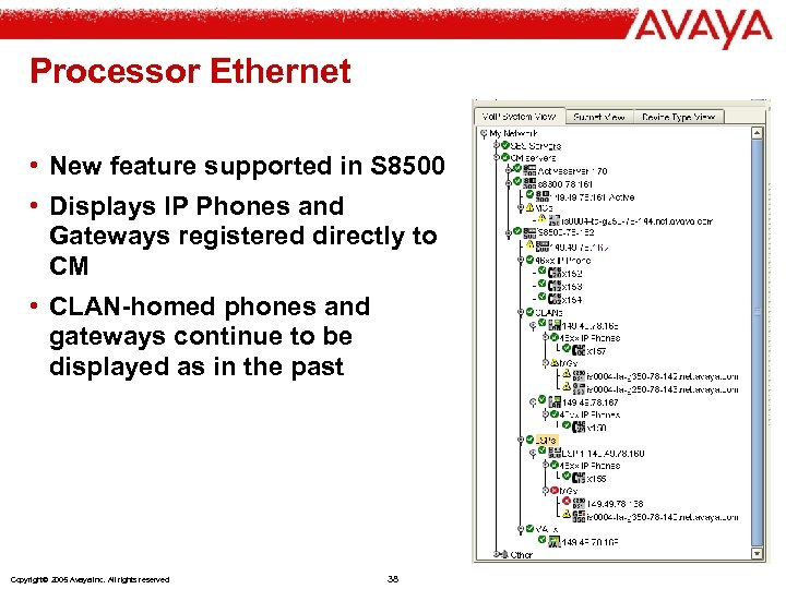 Processor Ethernet • New feature supported in S 8500 • Displays IP Phones and