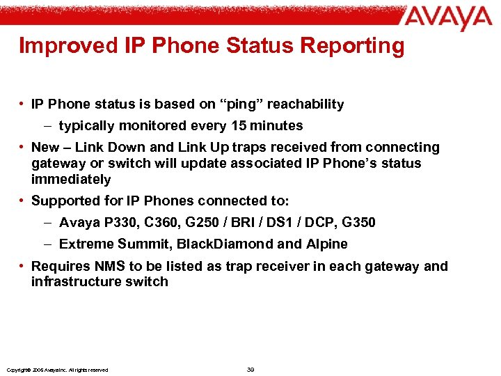 """Improved IP Phone Status Reporting • IP Phone status is based on """"ping"""" reachability"""