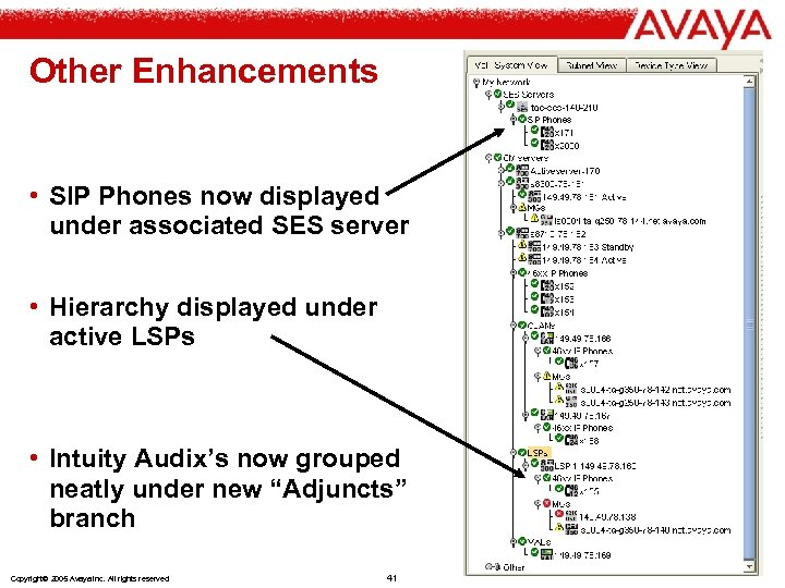 Other Enhancements • SIP Phones now displayed under associated SES server • Hierarchy displayed