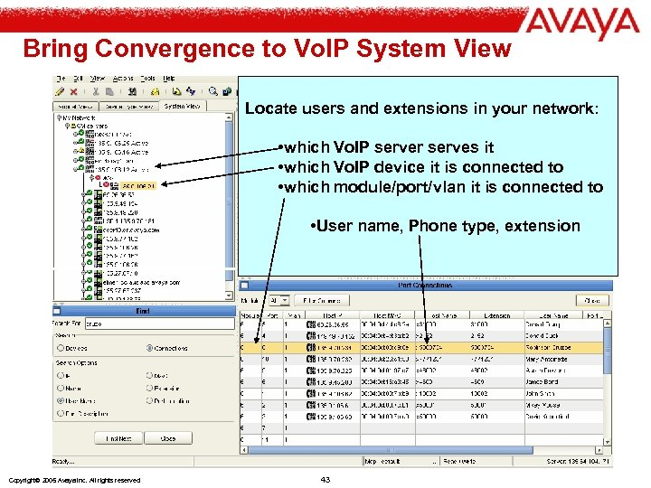 Bring Convergence to Vo. IP System View Locate users and extensions in your network: