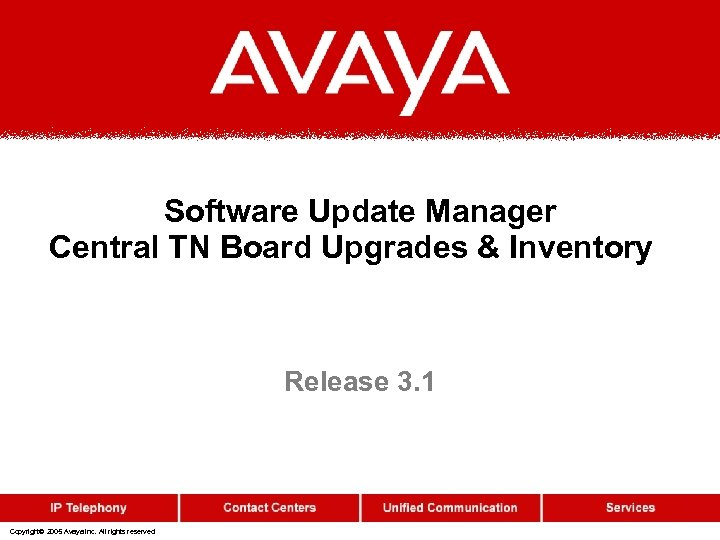 Software Update Manager Central TN Board Upgrades & Inventory Release 3. 1 Copyright© 2005