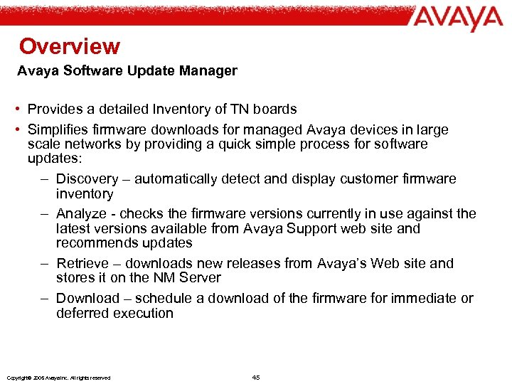 Overview Avaya Software Update Manager • Provides a detailed Inventory of TN boards •