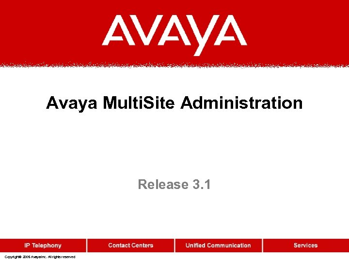 Avaya Multi. Site Administration Release 3. 1 Copyright© 2005 Avaya Inc. All rights reserved