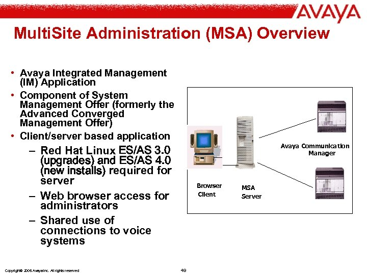 Multi. Site Administration (MSA) Overview • Avaya Integrated Management (IM) Application • Component of