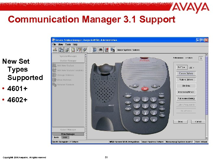 Communication Manager 3. 1 Support New Set Types Supported • 4601+ • 4602+ Copyright©
