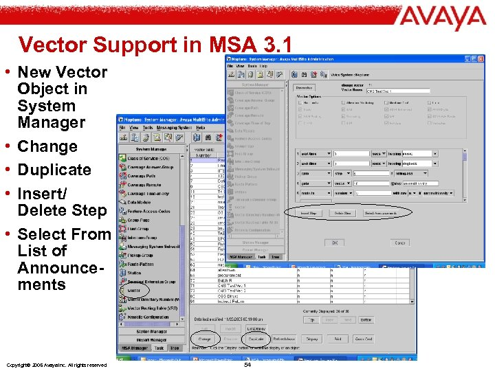 Vector Support in MSA 3. 1 • New Vector Object in System Manager •