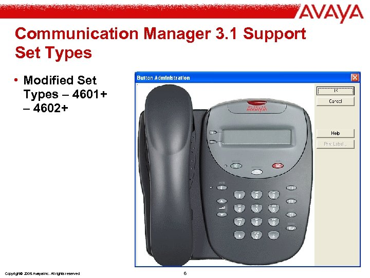 Communication Manager 3. 1 Support Set Types • Modified Set Types – 4601+ –