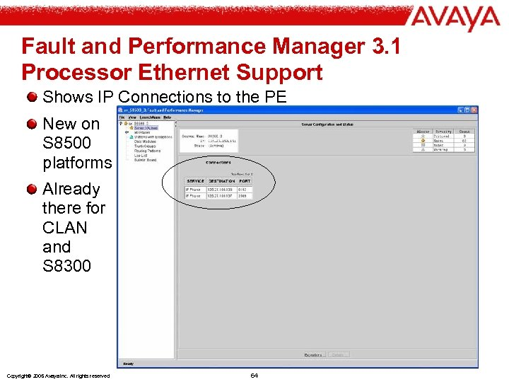 Fault and Performance Manager 3. 1 Processor Ethernet Support Shows IP Connections to the