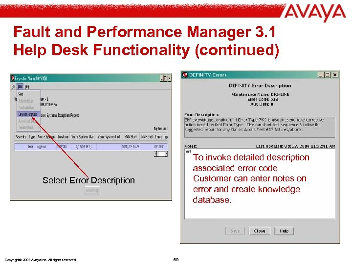 Fault and Performance Manager 3. 1 Help Desk Functionality (continued) To invoke detailed description