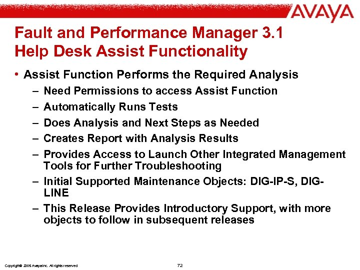 Fault and Performance Manager 3. 1 Help Desk Assist Functionality • Assist Function Performs