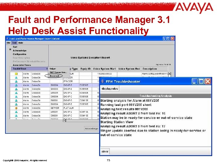 Fault and Performance Manager 3. 1 Help Desk Assist Functionality Copyright© 2005 Avaya Inc.
