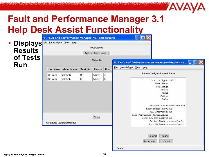Fault and Performance Manager 3. 1 Help Desk Assist Functionality • Displays Results of