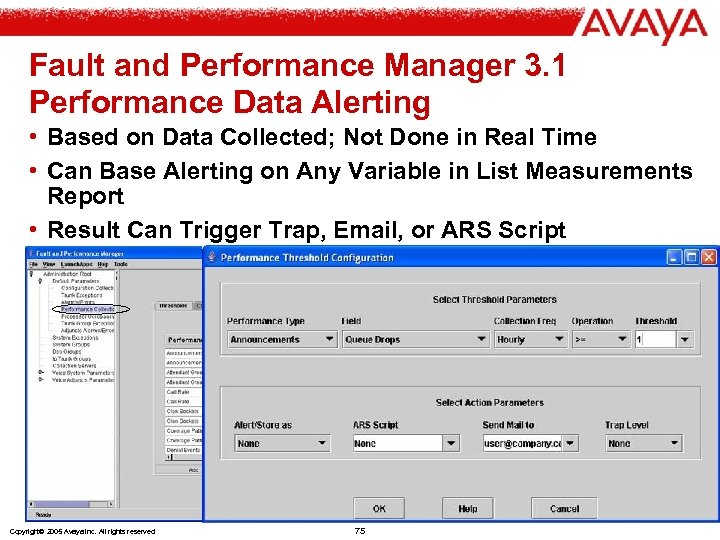 Fault and Performance Manager 3. 1 Performance Data Alerting • Based on Data Collected;