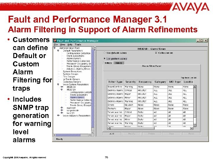 Fault and Performance Manager 3. 1 Alarm Filtering in Support of Alarm Refinements •