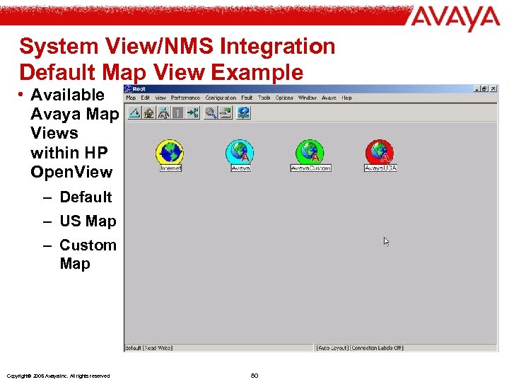 System View/NMS Integration Default Map View Example • Available Avaya Map Views within HP
