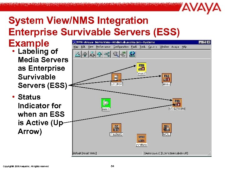 System View/NMS Integration Enterprise Survivable Servers (ESS) Example • Labeling of Media Servers as