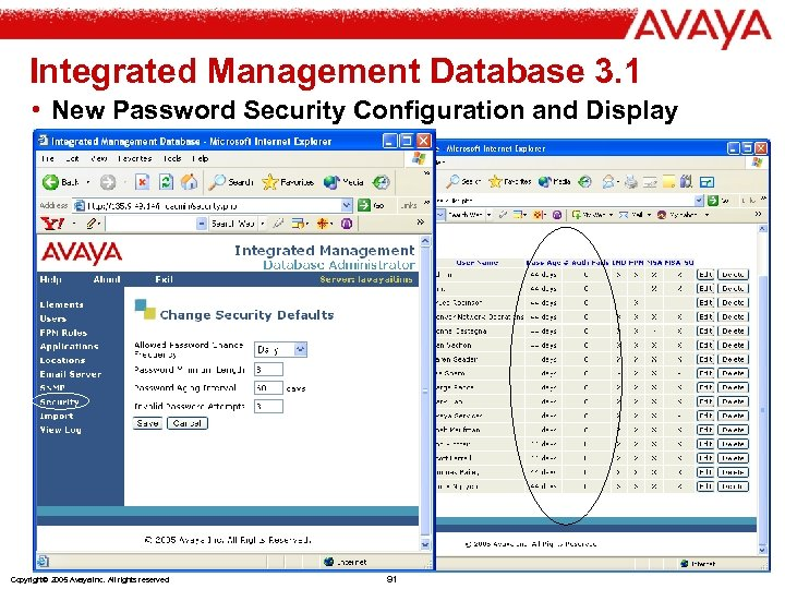 Integrated Management Database 3. 1 • New Password Security Configuration and Display Copyright© 2005