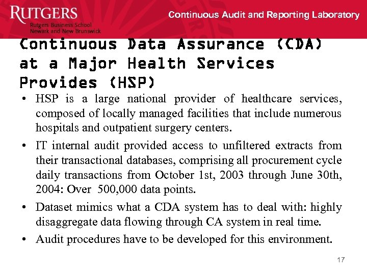 Continuous Audit and Reporting Laboratory Continuous Data Assurance (CDA) at a Major Health Services