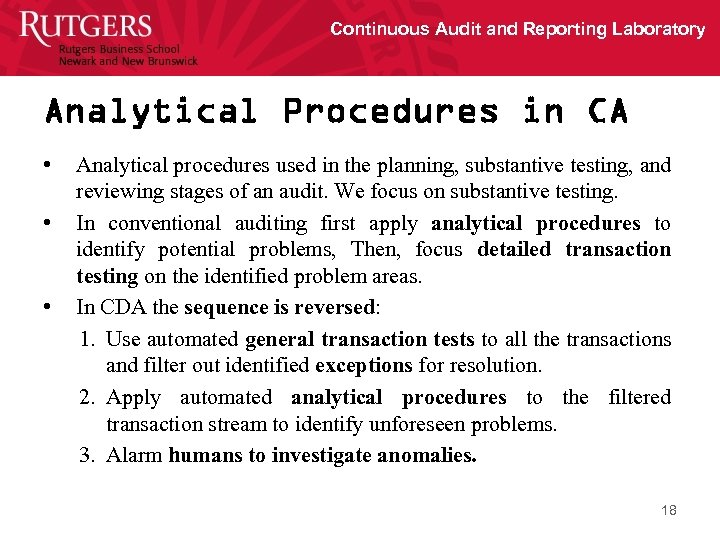 Continuous Audit and Reporting Laboratory Analytical Procedures in CA • • • Analytical procedures