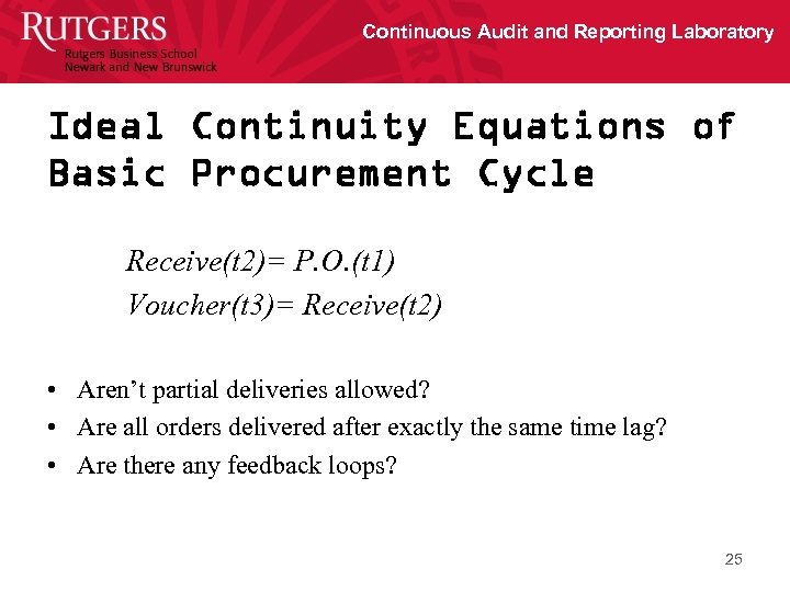 Continuous Audit and Reporting Laboratory Ideal Continuity Equations of Basic Procurement Cycle Receive(t 2)=