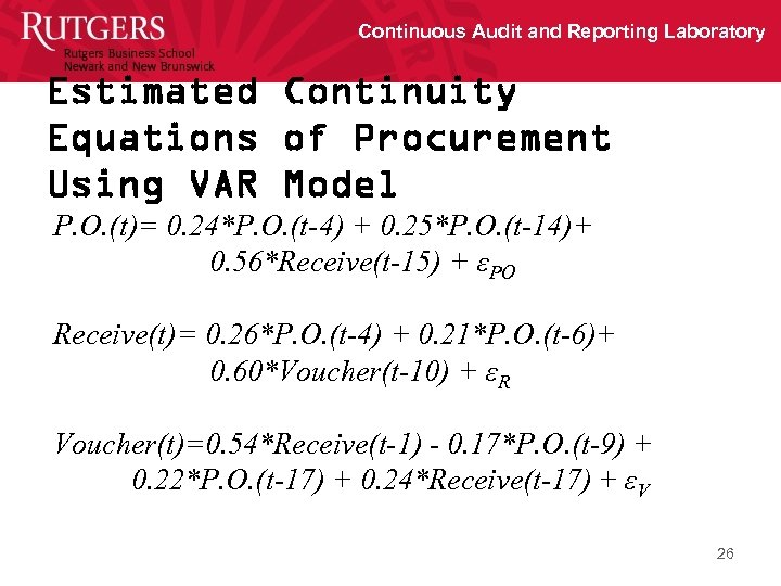 Continuous Audit and Reporting Laboratory Estimated Continuity Equations of Procurement Using VAR Model P.