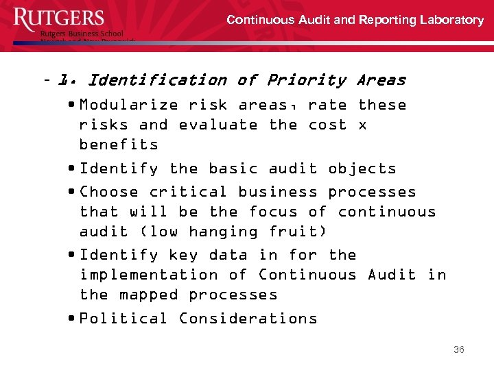 Continuous Audit and Reporting Laboratory – 1. Identification of Priority Areas • Modularize risk