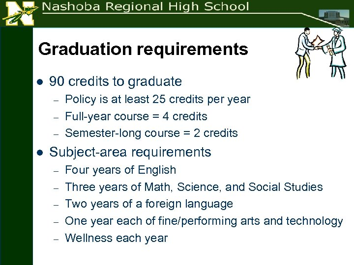 Graduation requirements l 90 credits to graduate – – – l Policy is at