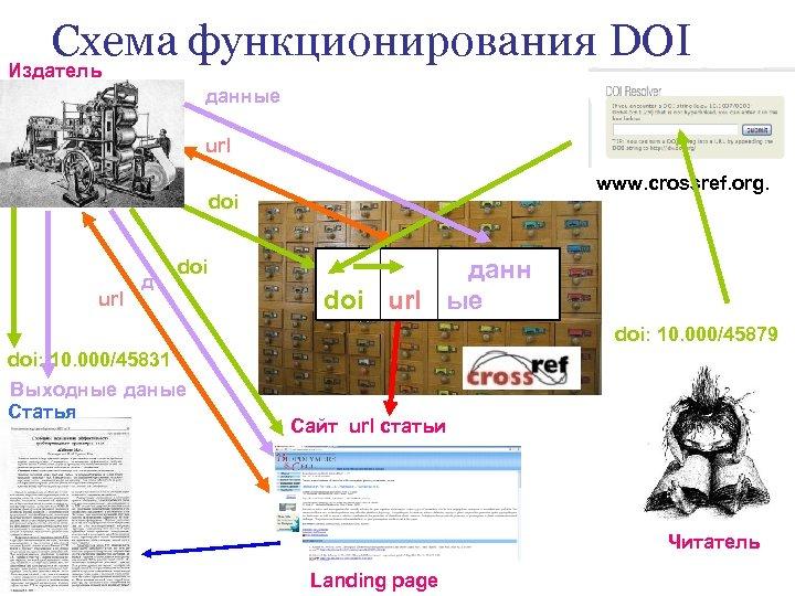 Схема функционирования DOI Издатель данные url www. crossref. org. doi url д doi данн