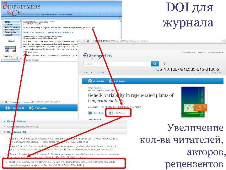 DOI для журнала Doi 10. 1007/s 10535 -012 -0106 -2 Увеличение кол-ва читателей, авторов,