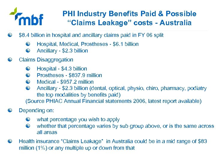 """PHI Industry Benefits Paid & Possible """"Claims Leakage"""" costs - Australia [ $8. 4"""
