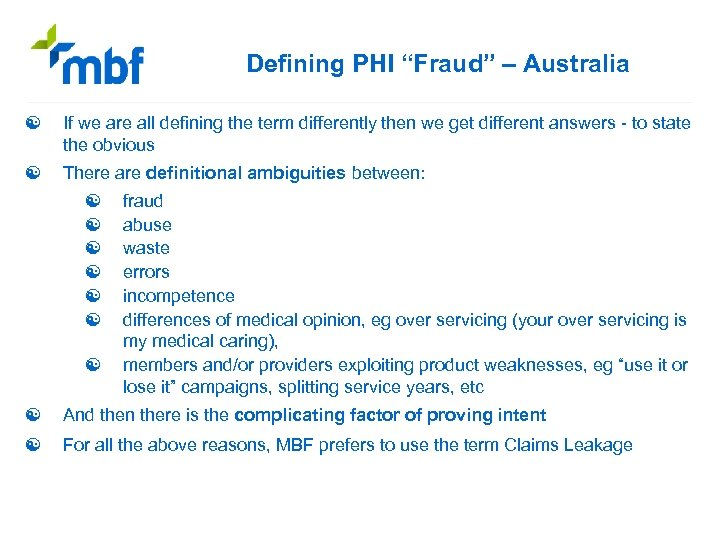 """Defining PHI """"Fraud"""" – Australia [ If we are all defining the term differently"""