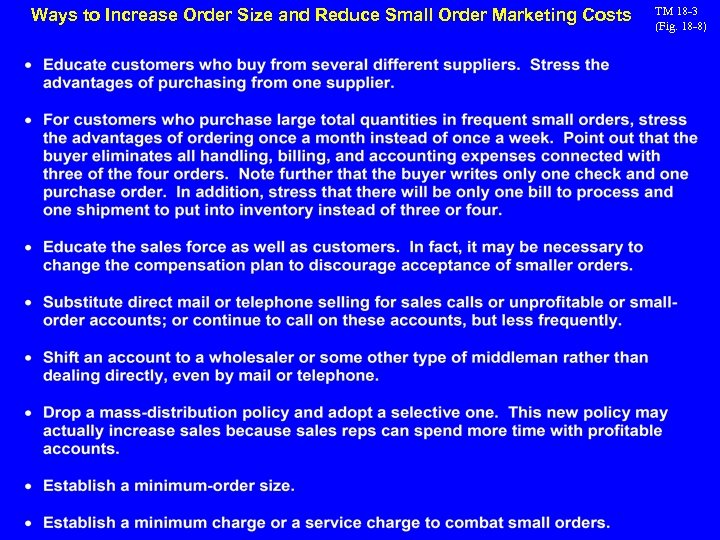 Ways to Increase Order Size and Reduce Small Order Marketing Costs TM 18 -3