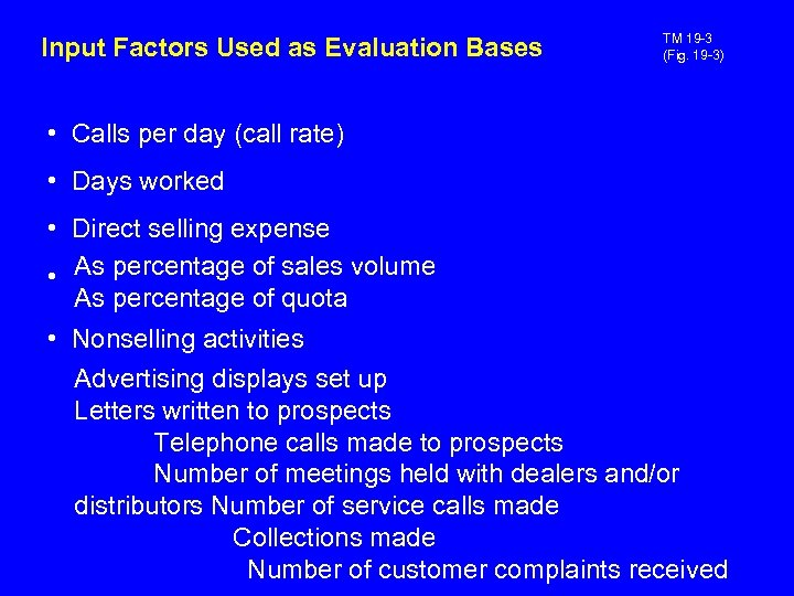 Input Factors Used as Evaluation Bases TM 19 -3 (Fig. 19 -3) • Calls