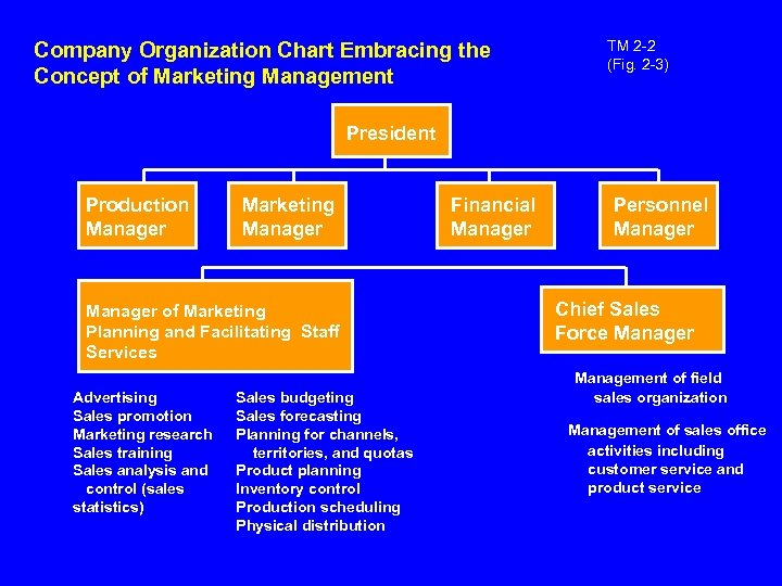 Company Organization Chart Embracing the Concept of Marketing Management TM 2 -2 (Fig. 2