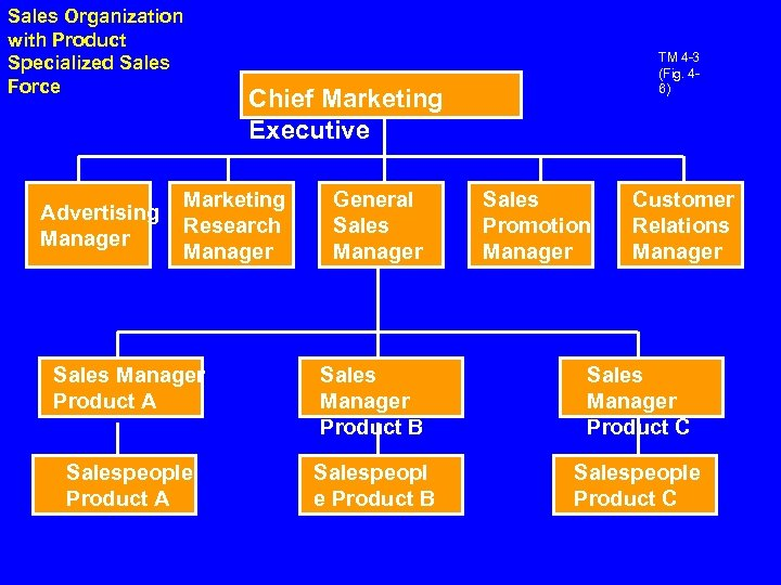 Sales Organization with Product Specialized Sales Force Advertising Manager TM 4 -3 (Fig. 46)