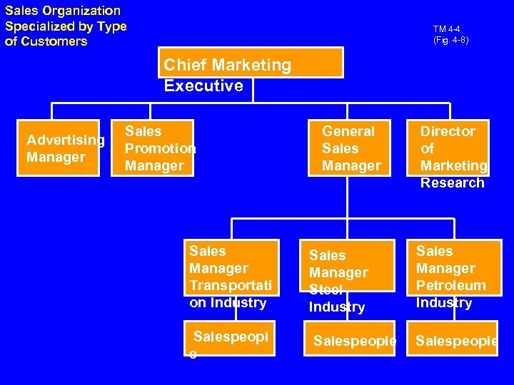 Sales Organization Specialized by Type of Customers TM 4 -4 (Fig. 4 -8) Chief