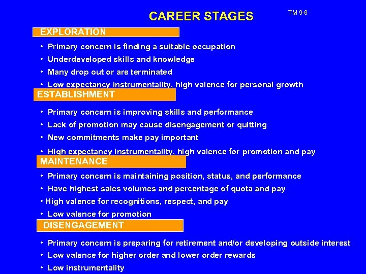 CAREER STAGES TM 9 -6 EXPLORATION • Primary concern is finding a suitable occupation